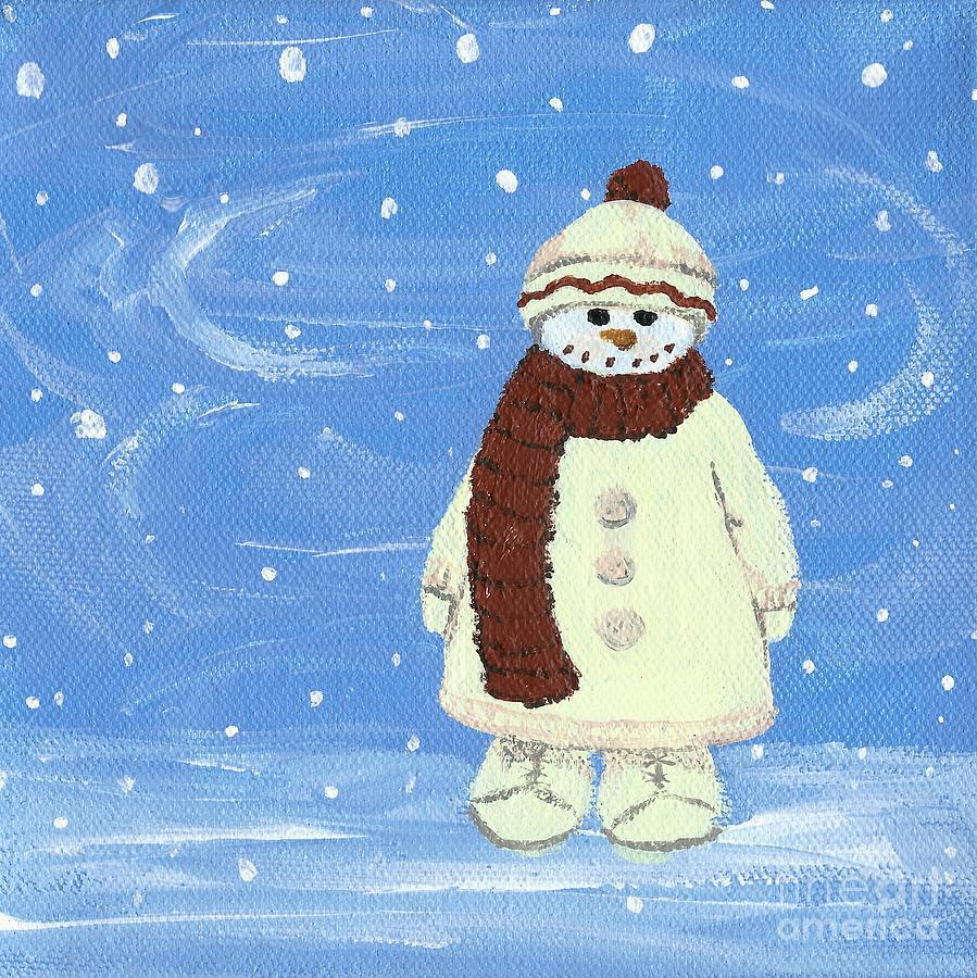 Snowman Painting - Last Decoration Snowman by Lynn Babineau