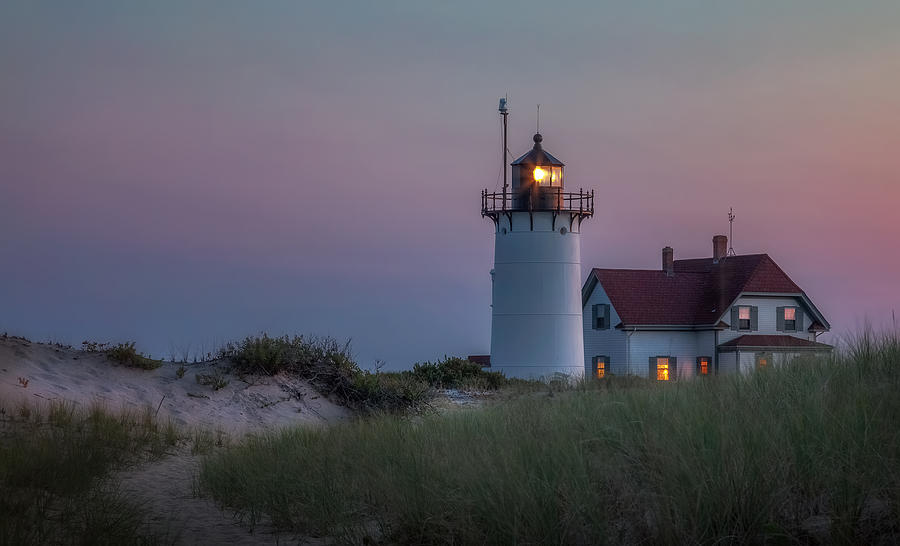 Race Point Light Photograph - Last Light by Bill Wakeley