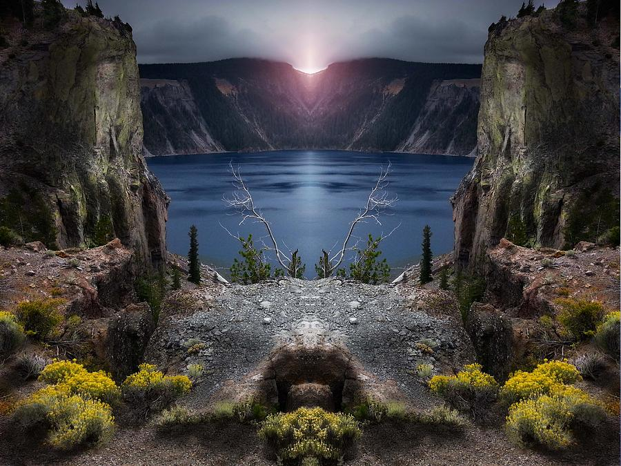 Ponds Photograph - Last light on Crater lake by Mike  Bennett
