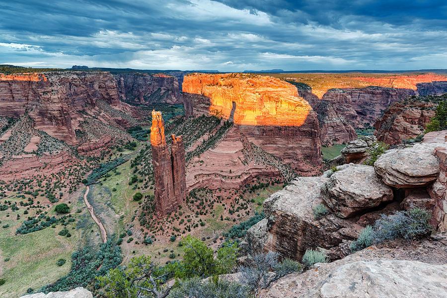 Spider Rock Photograph - Last Light On Spider Rock Canyon De Chelly Navajo Nation Chinle Arizona by Silvio Ligutti