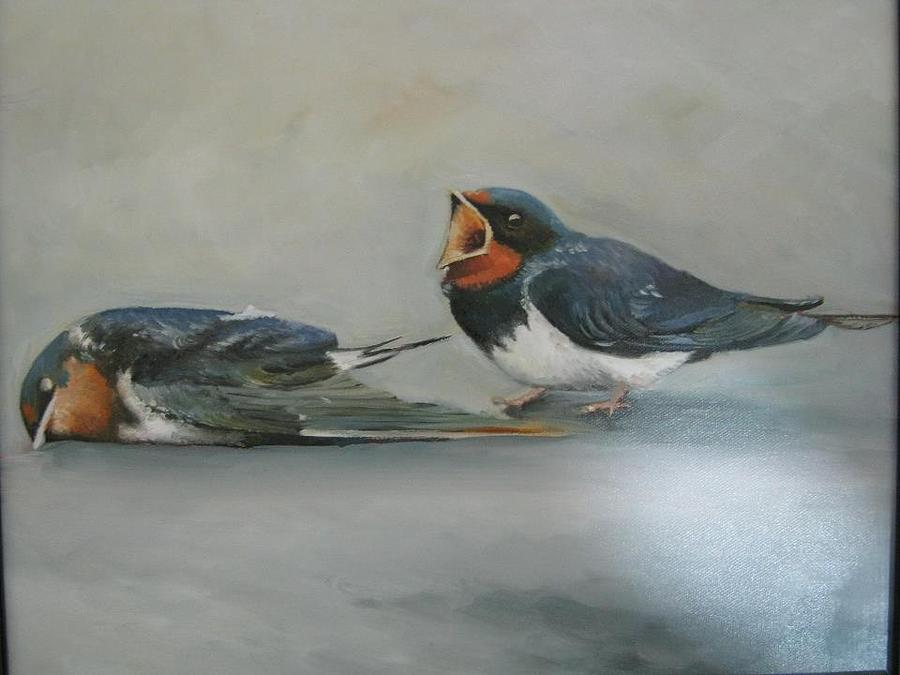 Birds Painting - Last Meeting by Bassem Abou najem