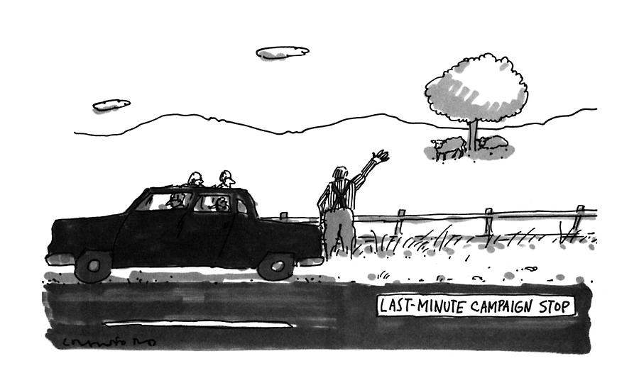 Last-minute Campaign Stop Drawing by Michael Crawford