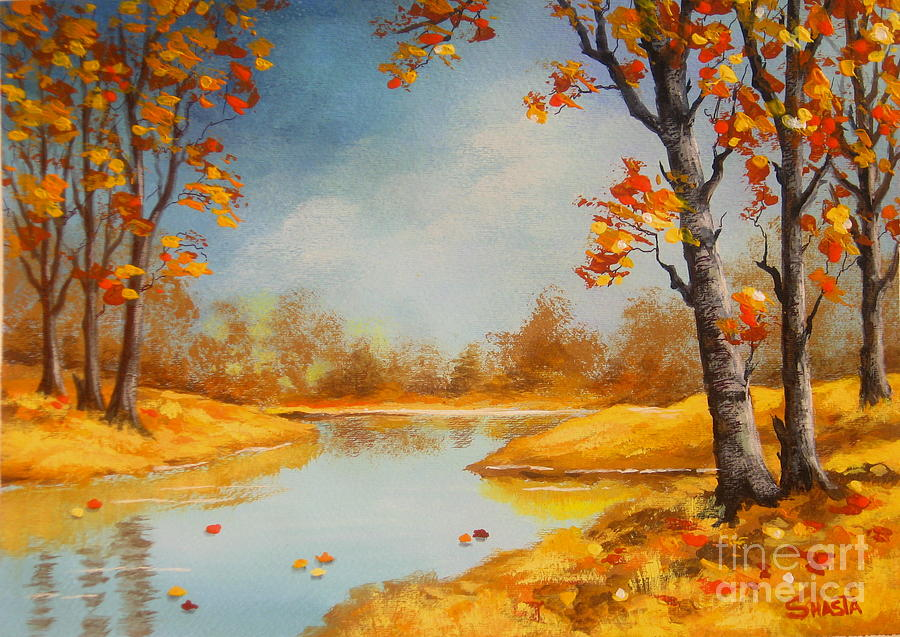 Landscape Painting - Last  Of  Fall  by Shasta Eone