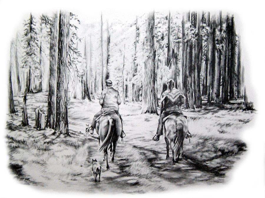 Forest Drawing - Last Ride by Jonni Hill