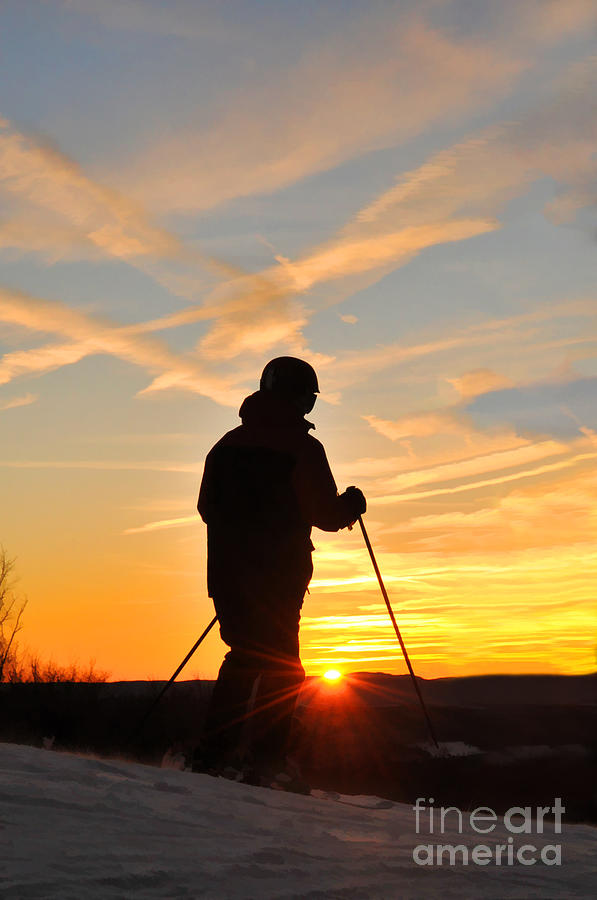 Ski Photograph - Last Run At End Of Day by Dan Friend