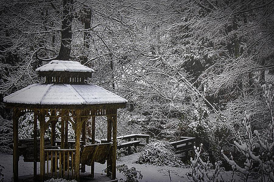Gazebo Photograph - Last Snow by Barry Jones