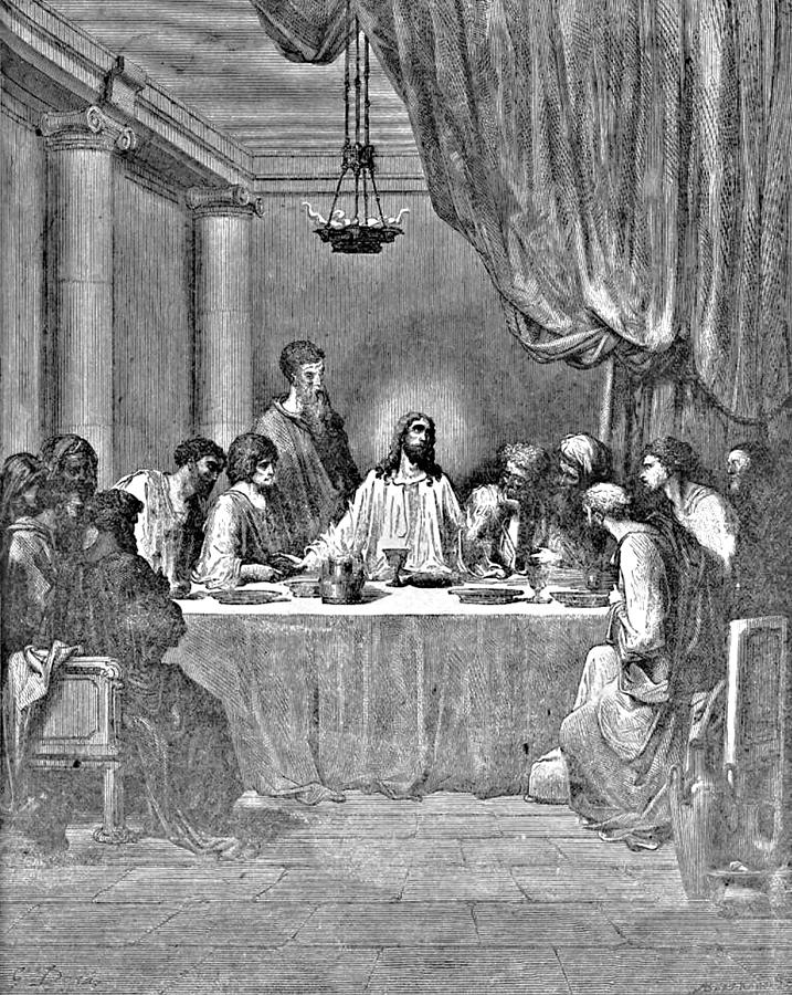 Last Supper Biblical Illustration Drawing By