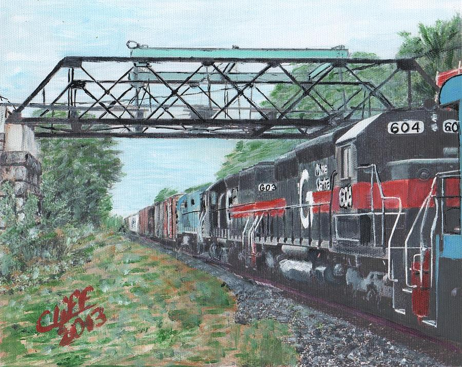 Trains Painting - Last Train Under The Bridge by Cliff Wilson