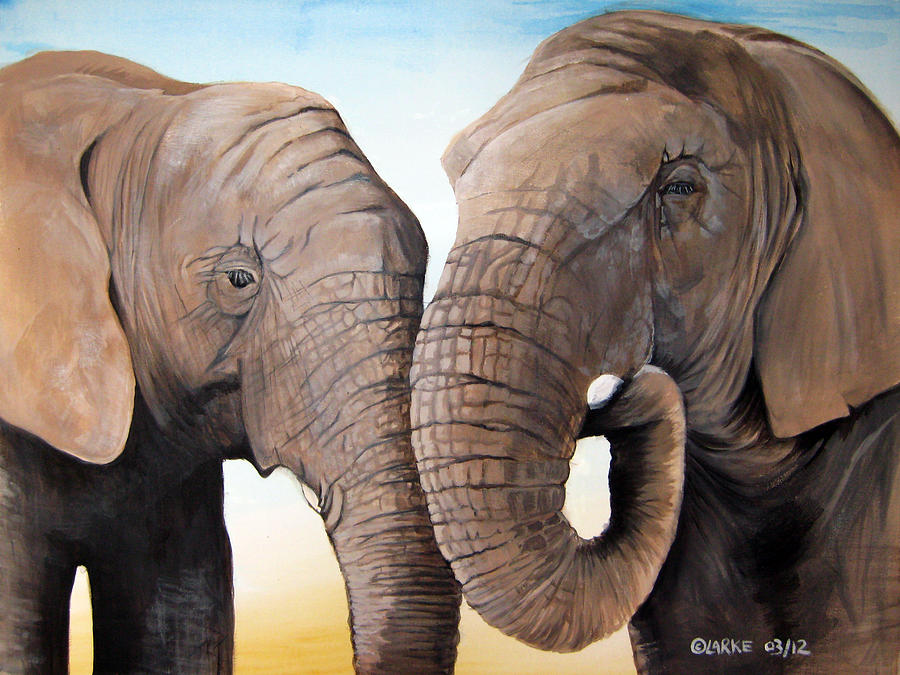 Elephant Painting - Latabe And Five by Stacey Clarke