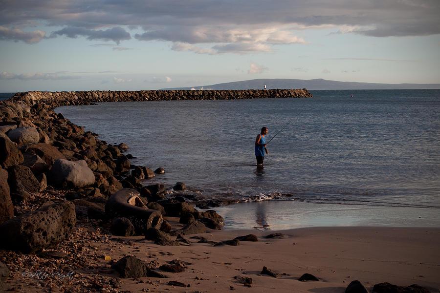 Popular Photograph - Late Afternoon Angler - Maalaea-maui by Paulette B Wright