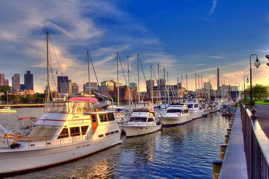Boston Photograph - Late Afternoon At Constitution Marina - Charlestown by Joann Vitali