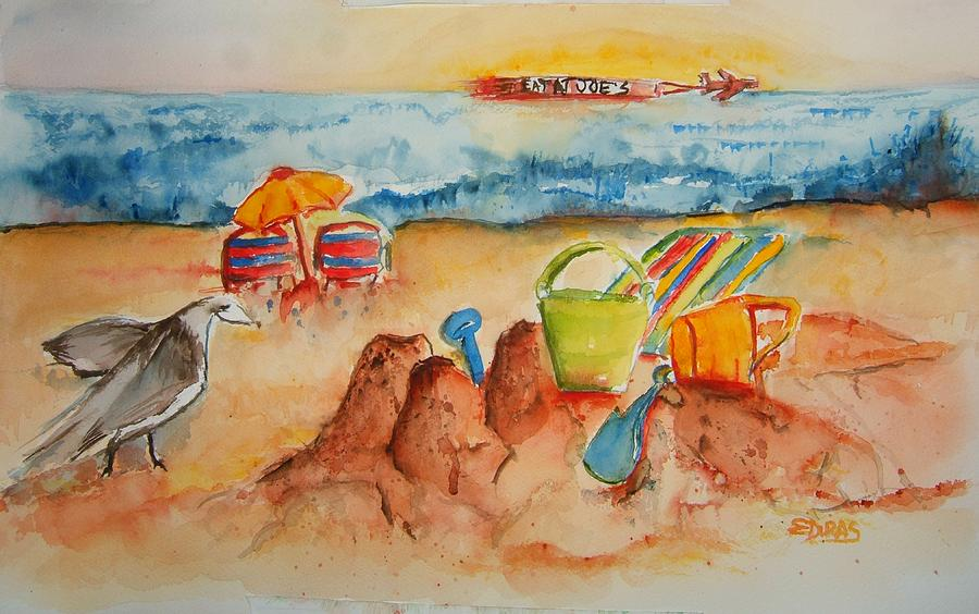 Jersey Shore Painting - Late Afternoon Beach by Elaine Duras