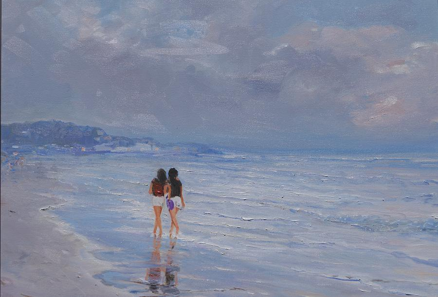 Paesaggio Painting - Late Afternoon In The Beach by Sefedin Stafa