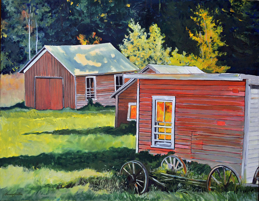 Sheds Painting - Late Afternoon Sheds by Thomas Stratton