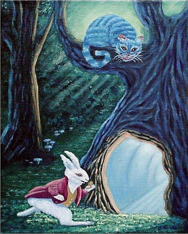 Rabbit Painting - Late Again  by Fran Brooks