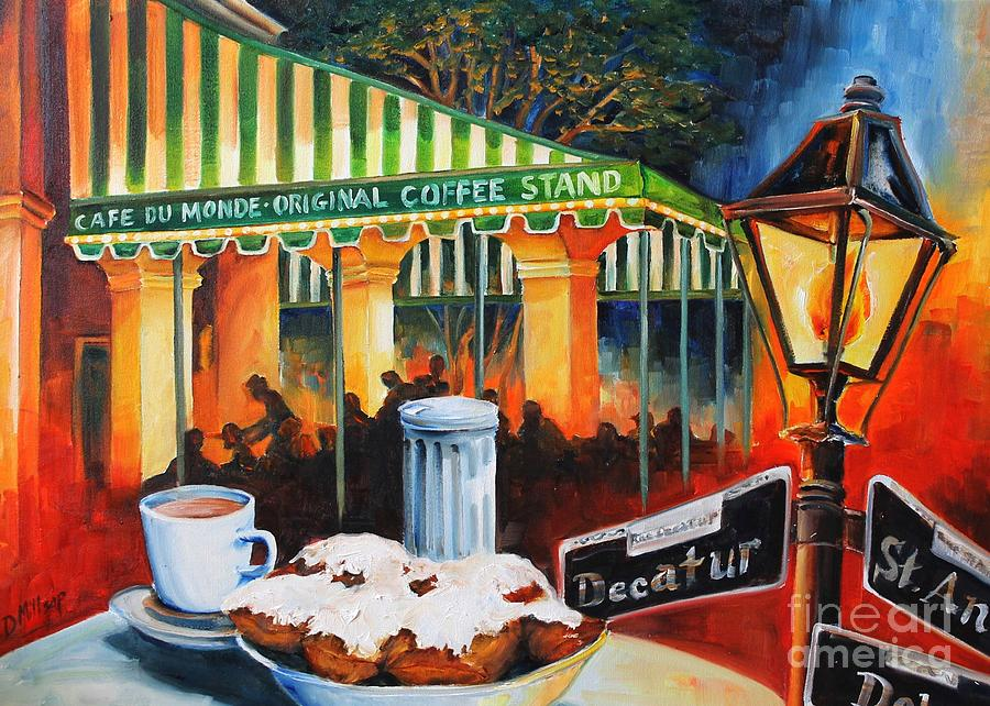 New Orleans Painting - Late At Cafe Du Monde by Diane Millsap