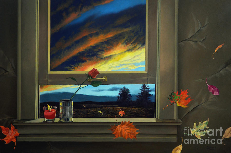 Rose Painting - Late Autumn Breeze By Christopher Shellhammer by Christopher Shellhammer