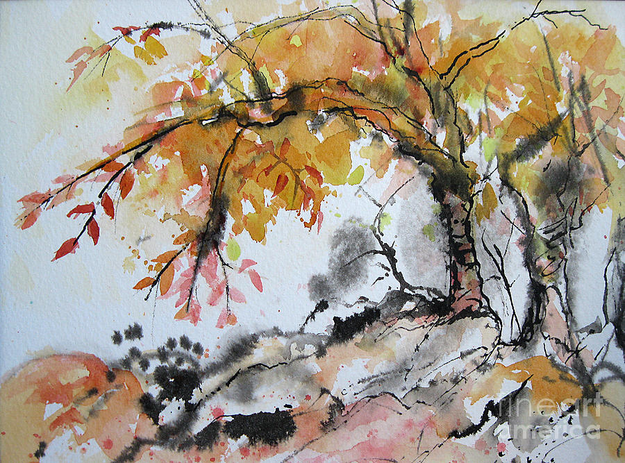 Watercolor Painting - Late Fall by Gwen Nichols
