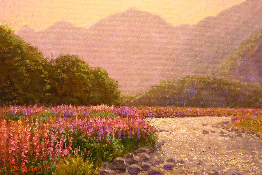Nz Painting - Late Light Egglinton Valley by Terry Perham