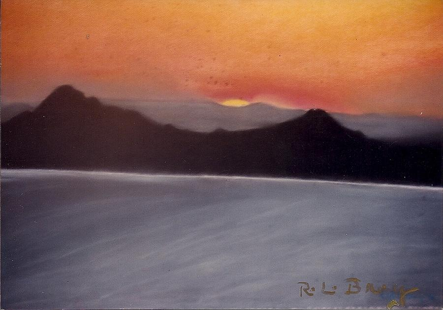 Red And Yellow Sunset Behind Mountain Silhouette. Painting - Late Sunset by Robert Bray