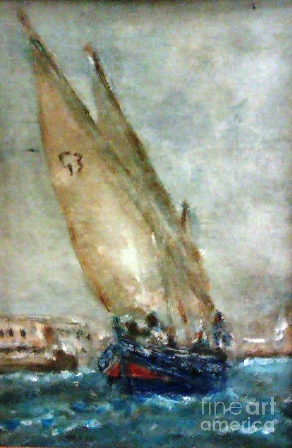 Latini Boat Entering Grand Harbour Valletta  Painting by Marco Macelli
