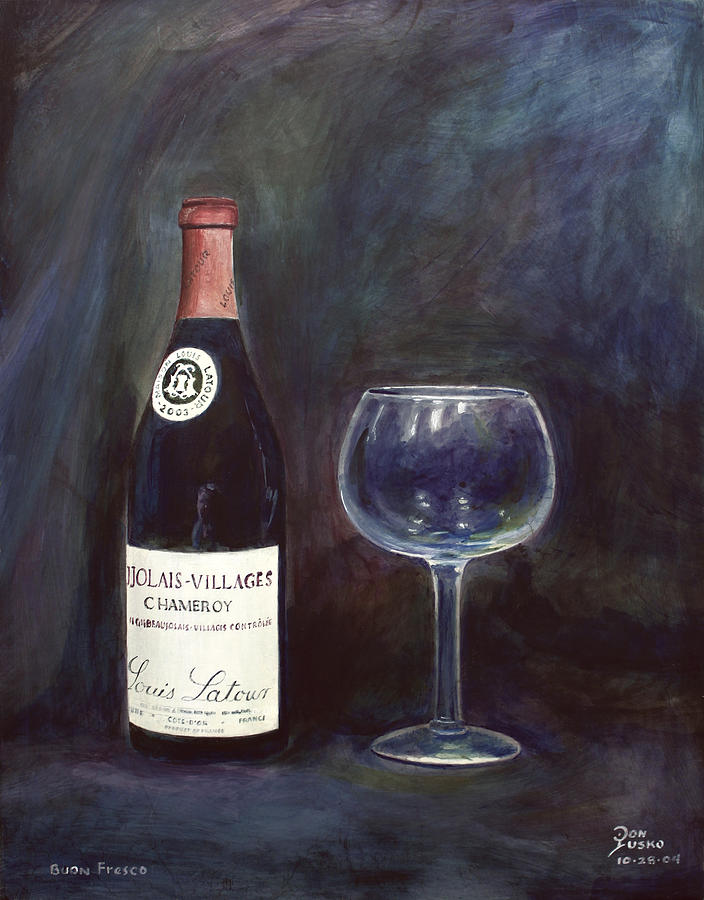 Fresco Painting - Latour Wine Buon Fresco 3 Primary Pigments by Don Jusko