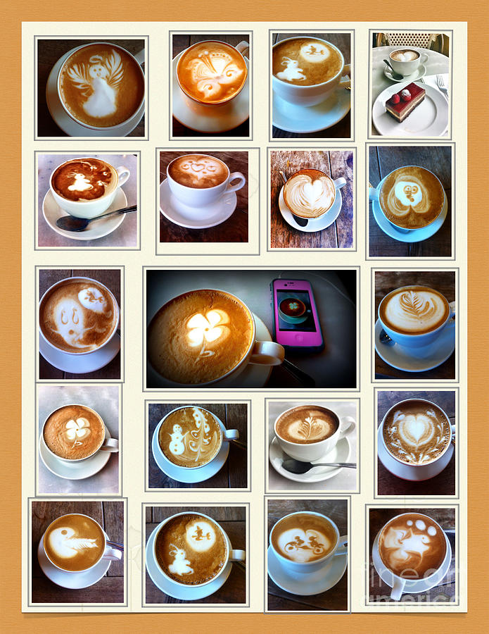 Coffee Photograph - Latte Art Collage by Susan Garren