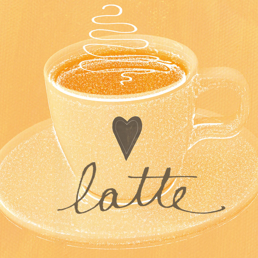 Latte Love In Orange And White Painting