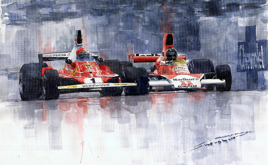 Watercolor Painting - Lauda Vs Hunt Brazilian Gp 1976 by Yuriy Shevchuk