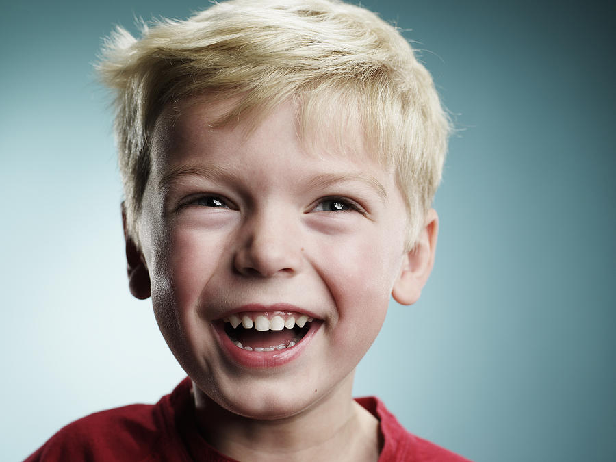 Laughing 4 Year Old Boy Photograph by Ryan McVay
