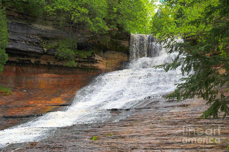 Michigan Photograph - Laughing Whitefish Waterfall by Terri Gostola