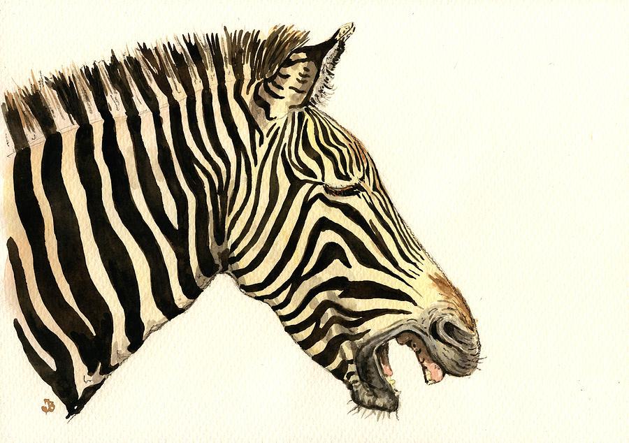 Zebra Painting - Laughing Zebra by Juan  Bosco