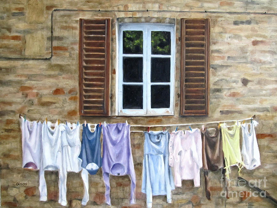 Window Painting - Laundry Day In Tuscany by Karen Olson