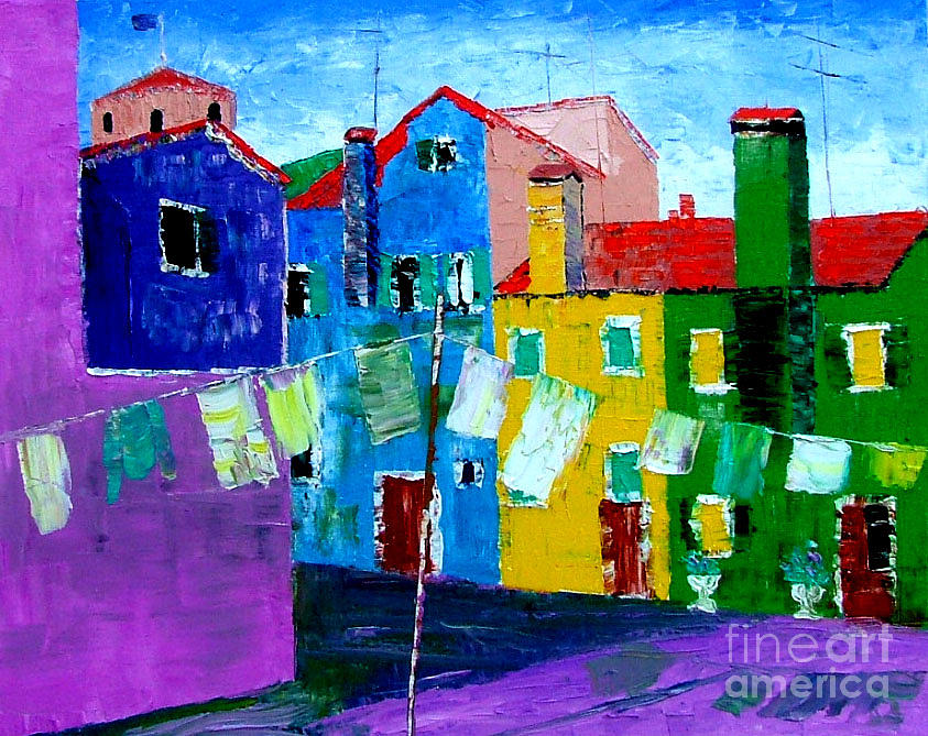 Burano Painting - Laundry Day by Inna Montano