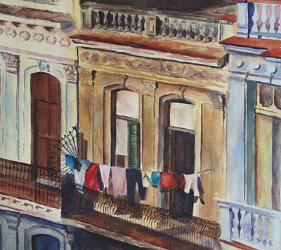 Architectural Painting - Laundry Days by Barbara Seibel