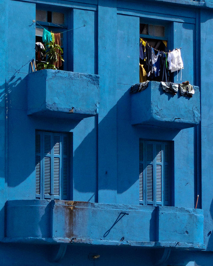 Blue Photograph - Laundry - Sao Paulo by Julie Niemela