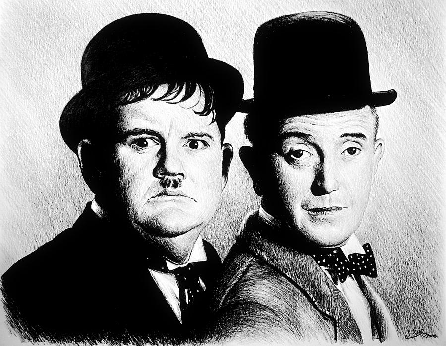 Laurel And Hardy Another Fine Mess Drawing by Andrew Read – Laurel and Hardy Birthday Cards