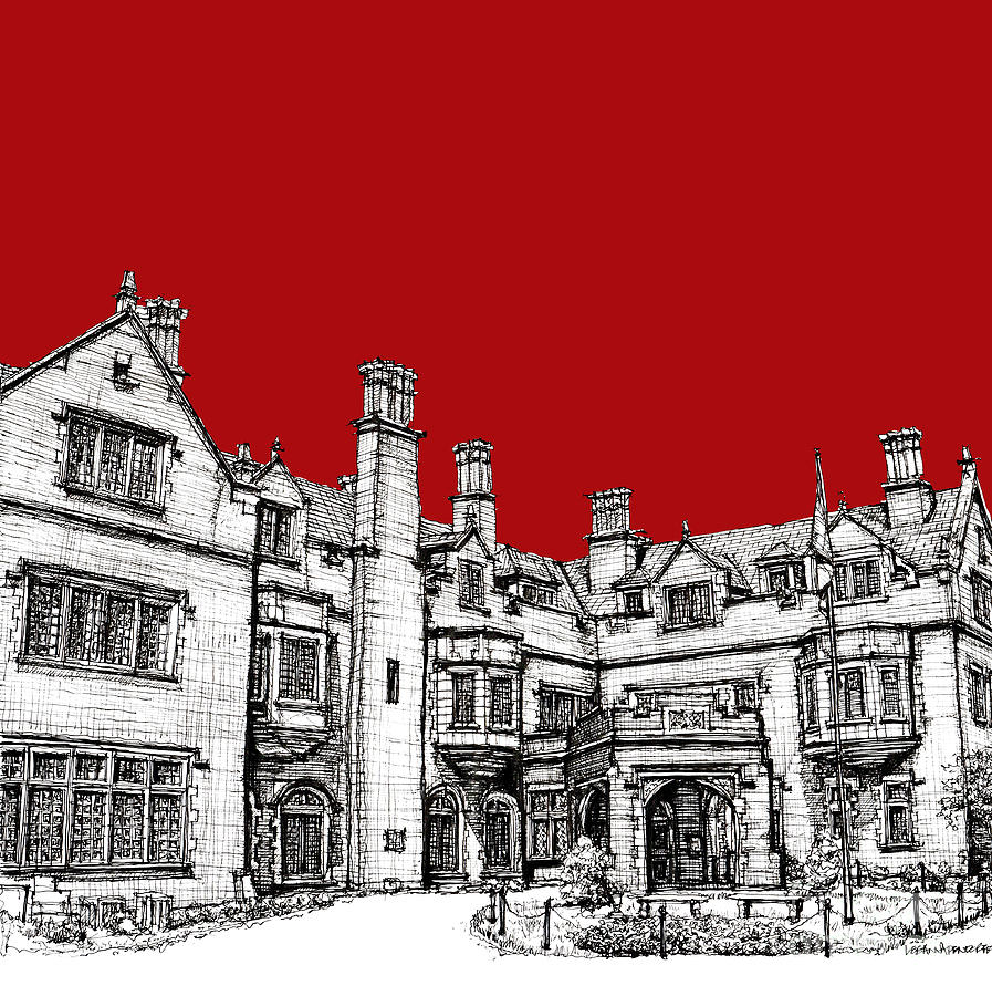 Red Drawing - Laurel Hall In Red by Adendorff Design