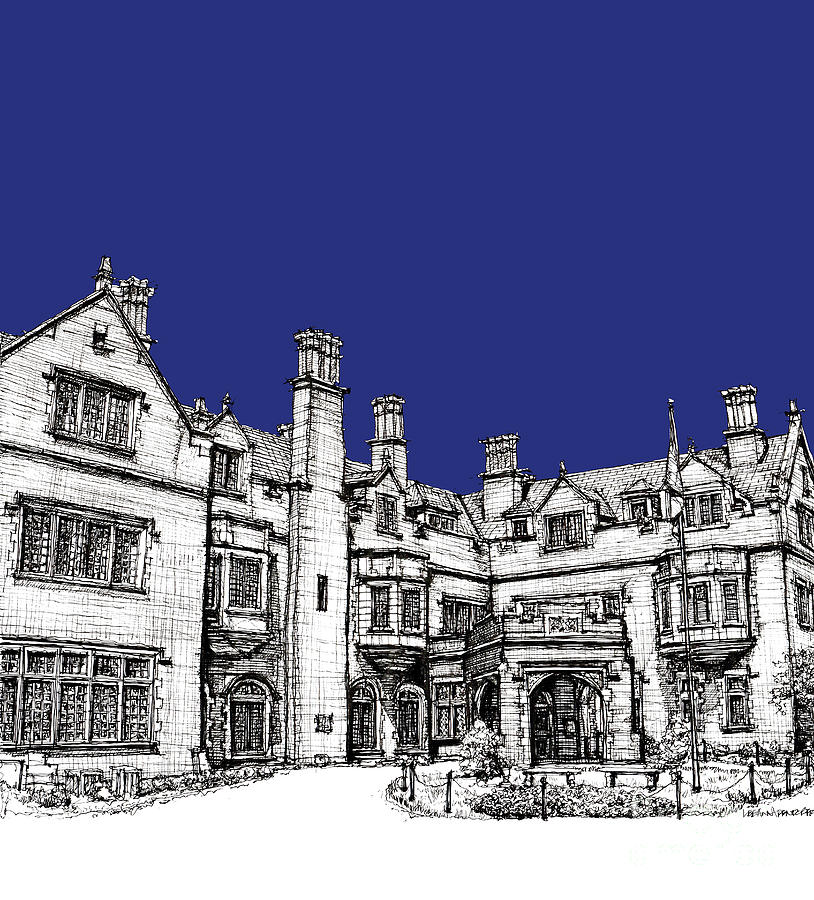 Royal Drawing - Laurel Hall In Royal Blue by Adendorff Design