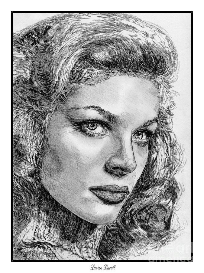 Jem Fine Arts Drawing - Lauren Bacall by J McCombie