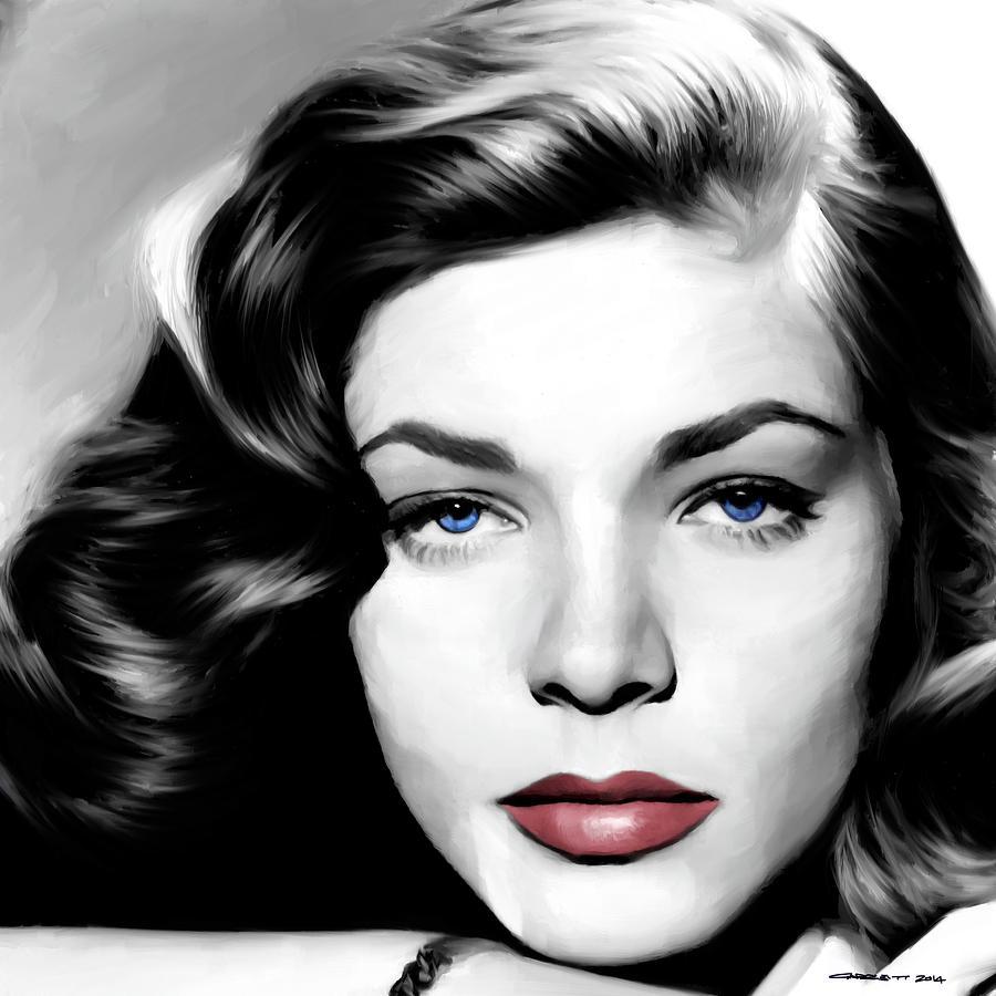 Lauren Bacall Digital Art - Lauren Bacall Large Size Portrait by Gabriel T Toro