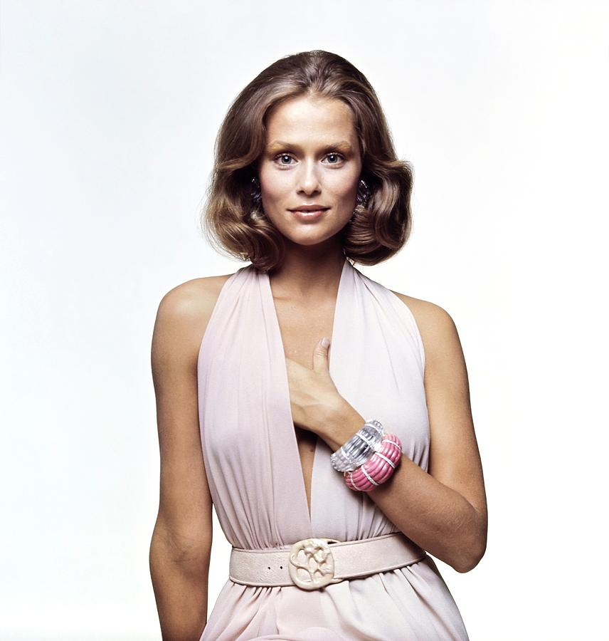 Accessories Photograph - Lauren Hutton Wearing A Galanos Dress by Bert Stern