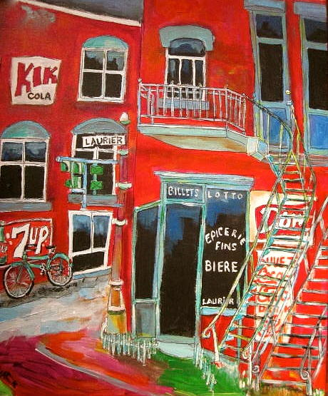 Montreal Spiral Staircases Painting - Laurier Balconies Montreal Memories by Michael Litvack