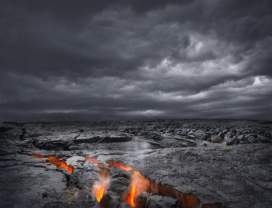 Lava bubbling up from volcano, Kilauea, Hawaii, United States Photograph by Chris Clor