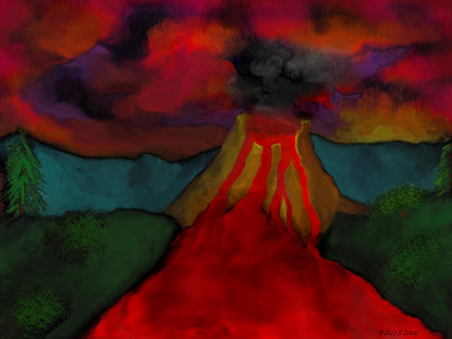 Lava Digital Art - Lava Flow by Elizabeth S Zulauf