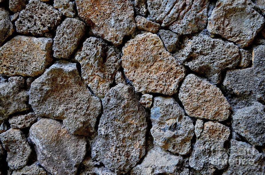 Lava Rock Wall At Coco Palms Resort Photograph by Mary Deal