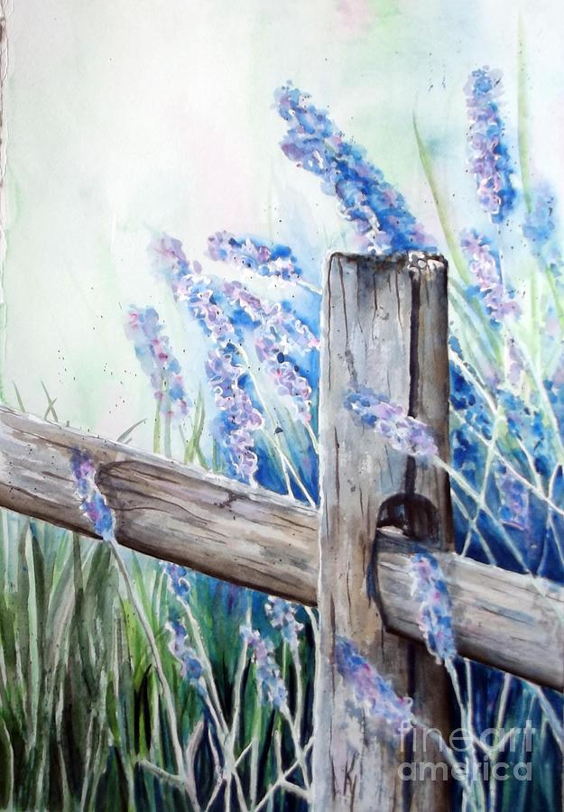 Lavender Painting - Lavender Fenced Garden  by Kay Lodahl