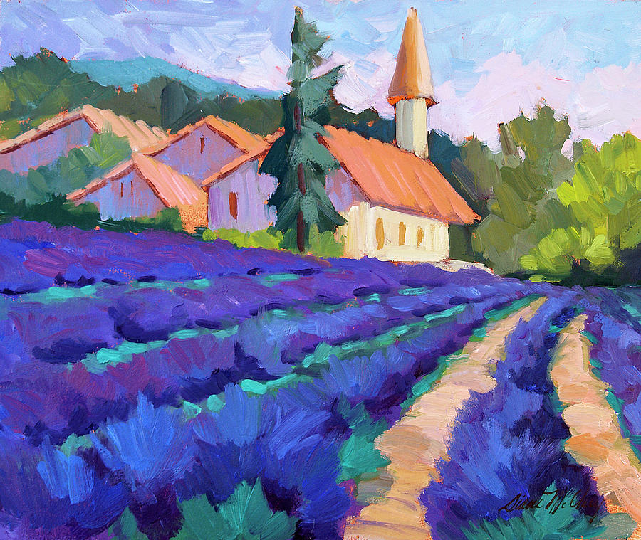 Lavender Field In St. Columne Painting By Diane McClary
