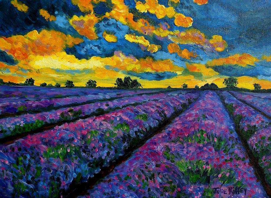 Lavender Field Painting - Lavender Fields At Dusk by Julie Brugh Riffey