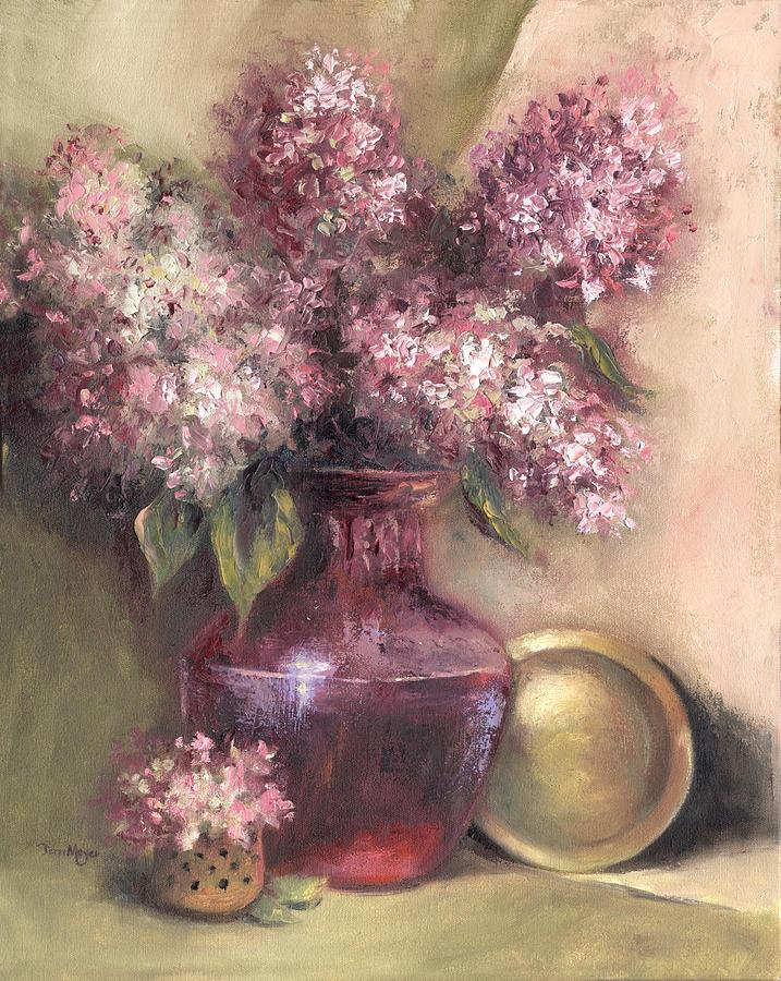 Lavender Hydrangeas Painting by Terri  Meyer